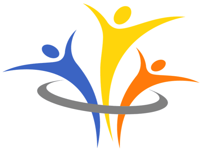 Image of Mosaic Clubhouse Logo, with stylized figures expressing freedom