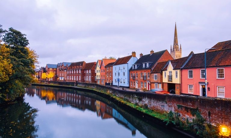 News and Events spotlight image, showing Norwich Riverside photo on Quay Side