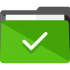Icon of green folder with tick mark