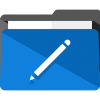 Icon of blue folder with pencil